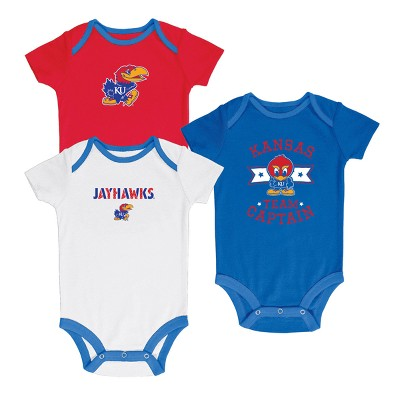 Kansas Jayhawks Newest Fan 3pk Bodysuit Set 6-9 M