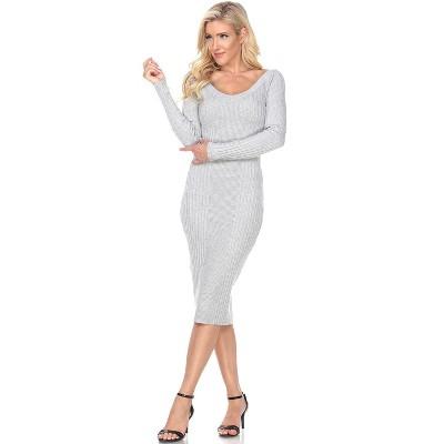 Women's Long Sleeve Destiny Sweater Dress - White Mark
