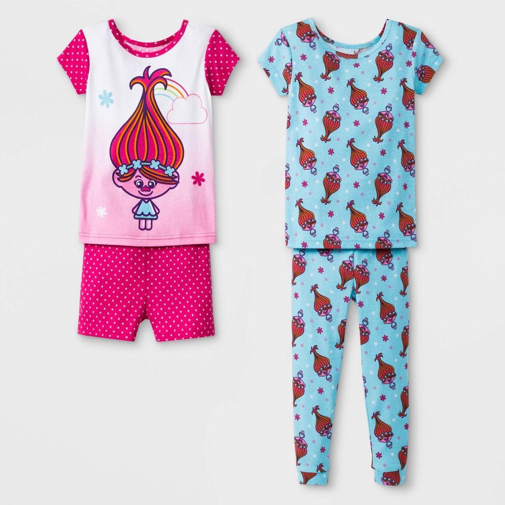 Toddler Girls' Trolls 4pc Pajama Set - Pink 5T