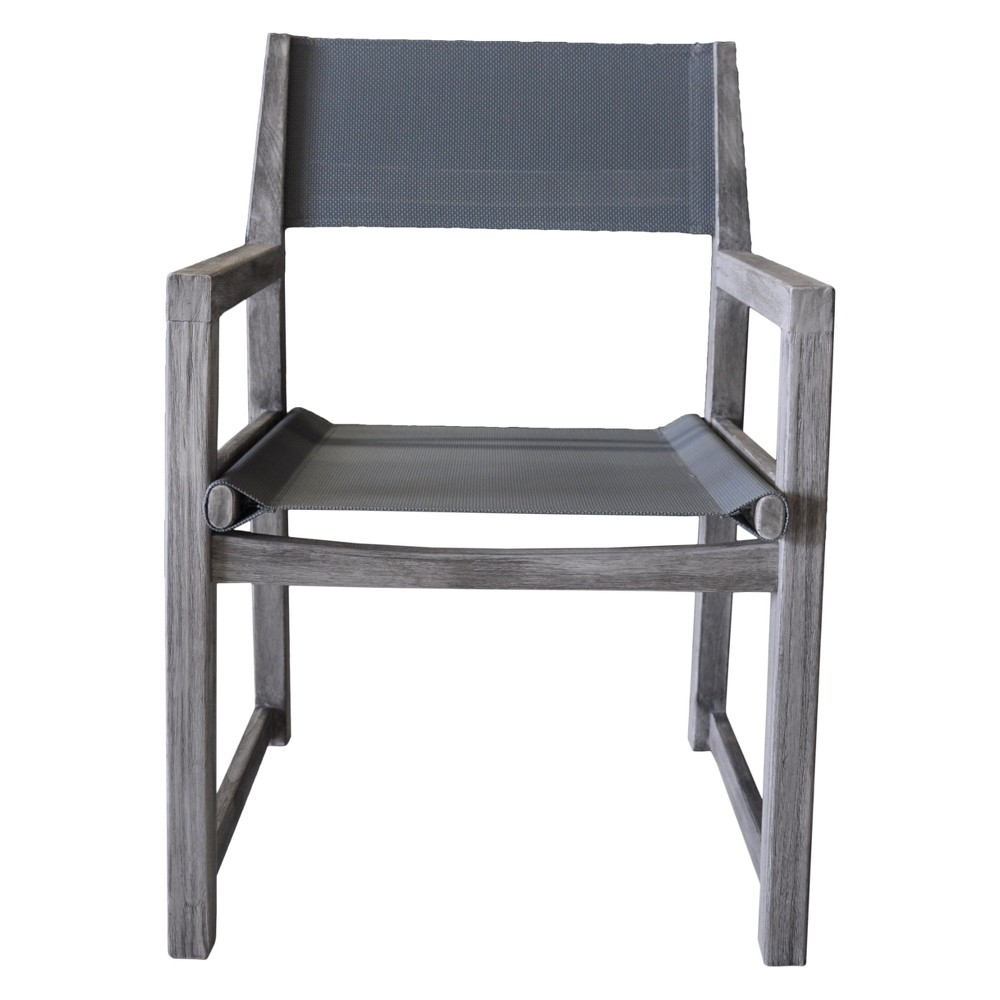 Teak Contemporary Bay Side Outdoor Sling Dining Chair - Driftwood Gray - Courtyard Casual