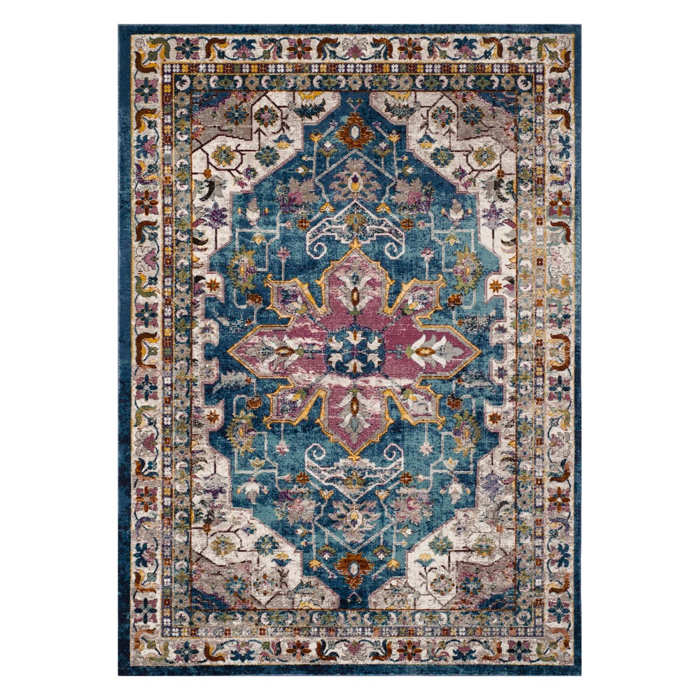 Medallion Loomed Area Rug Blue/Cream