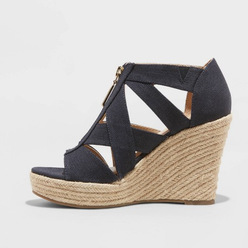 e0b11a8b421 Women's Macie Zip Front Espadrille Wedge - A New Day™ Navy 7.5