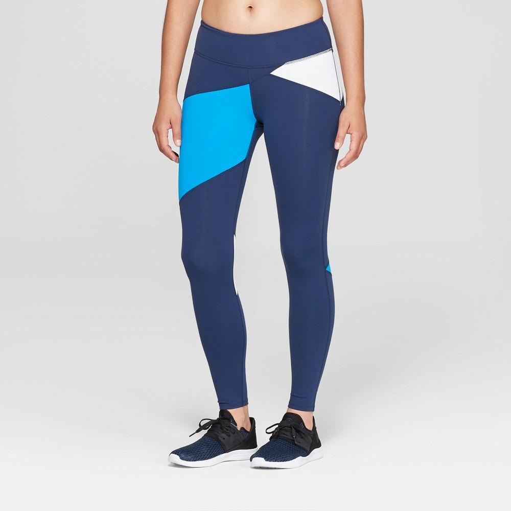 Women's Premium Asymmetrical Color Block Mid-Rise Leggings - JoyLab Navy (Blue) L
