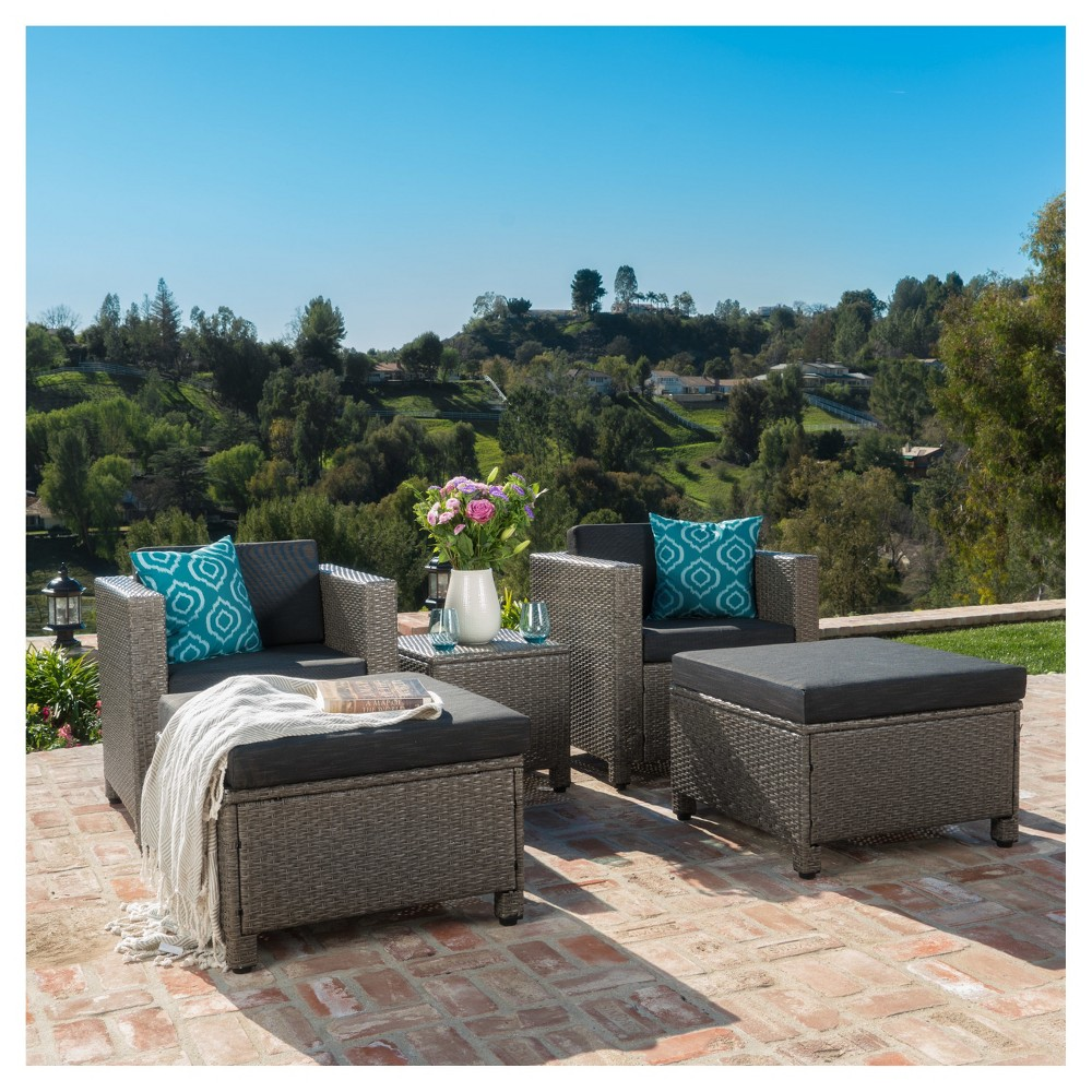 Puerta 5pc All-Weather Wicker Patio Chat Set - Black/Dark Gray - Christopher Knight Home