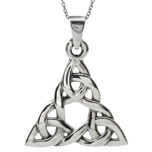 Women's Journee Collection Large Celtic Triangle Necklace in Sterling Silver - image 1 of 3