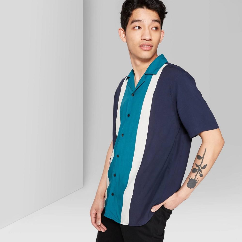 Men's Striped Short Sleeve Resort Button-Down-Shirt - Original Use Fighter Pilot Blue XS