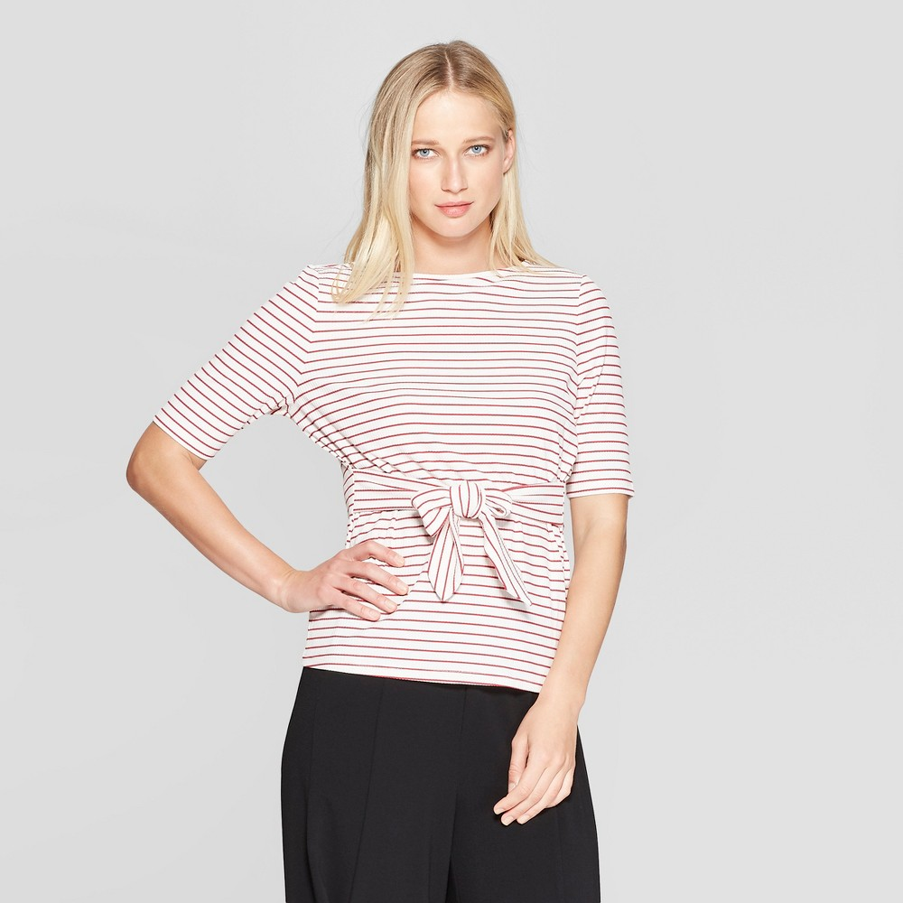 Women's Striped Elbow Sleeve Belted Top - Who What Wear Red/White XS