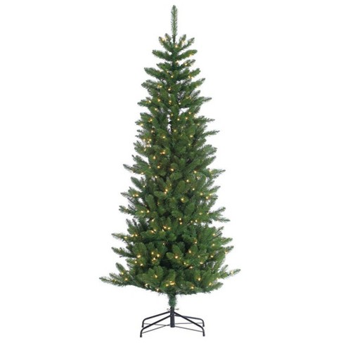 7ft Sterling Tree Company Pre-Lit Narrow Slim Augusta Pine with 350 Clear  White Lights Artificial Christmas Tree
