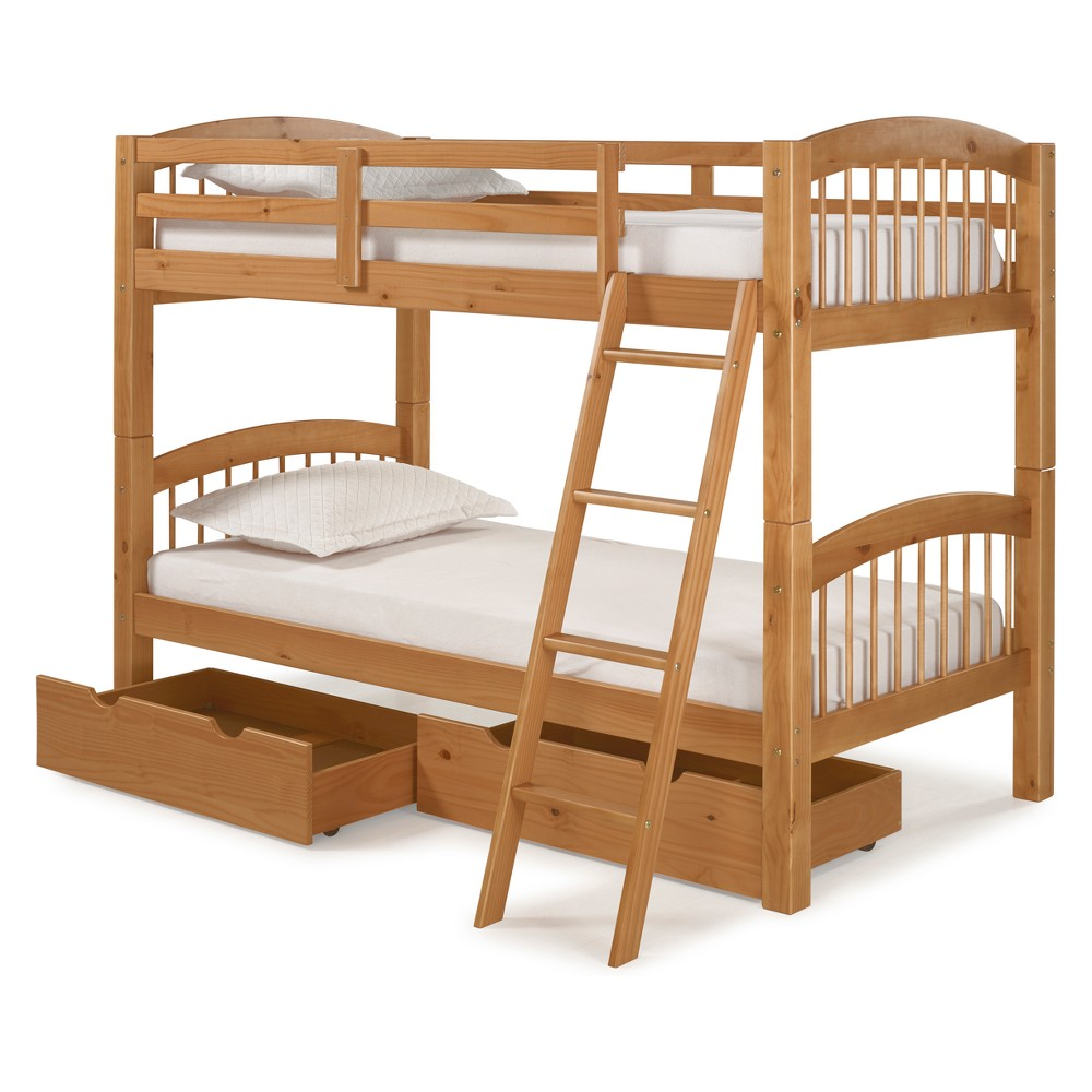 Spindle Twin Over Twin Bunk Bed With Storage Drawers Cinnamon (Red) - Bolton Furniture