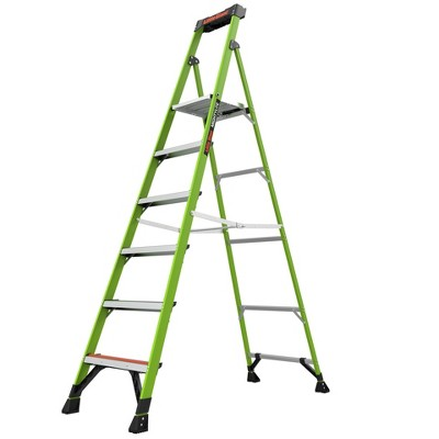 Little Giant Ladder Systems 8' ANSI type IAA 375 lb fiberglass Stepladder with Ground Cue Apple Green
