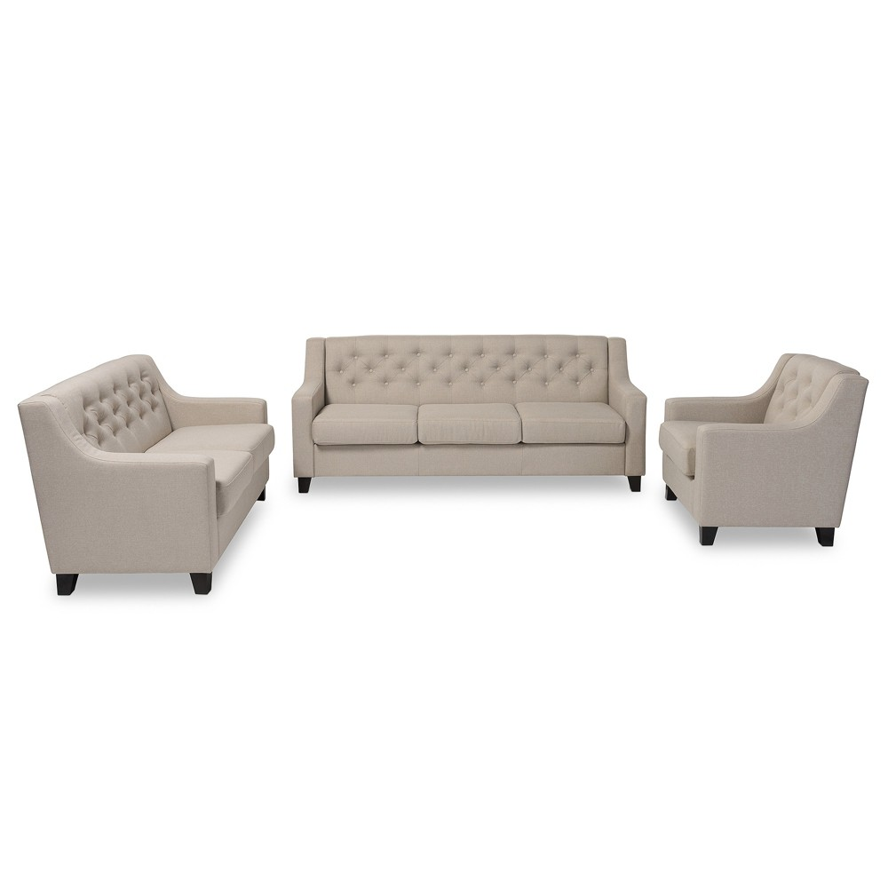 Arcadia Modern and Contemporary Fabric Upholstered Button - Tufted 3pc Living Room Sofa Set - Light Buff Beige - Baxton Studio