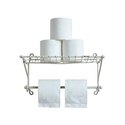 Metal Paper Towel/Toilet Paper Holder w/ Shelf - White - 3R Studios