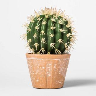 "8.6"" x 5.1"" Artificial Cactus Arrangement in Terra Cotta Pot Green/Red - Threshold™"