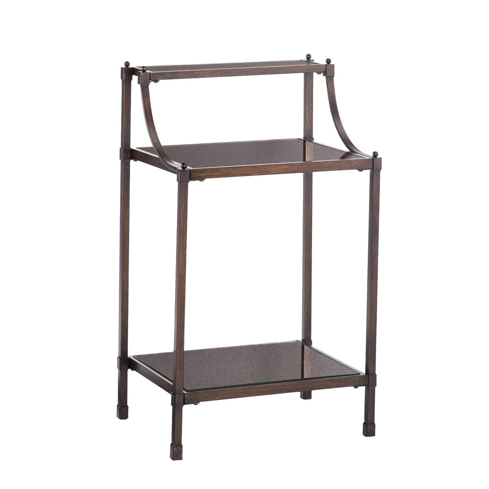 Timpson Metal and Antiqued Mirror Accent Table Golden Bronze - Aiden Lane