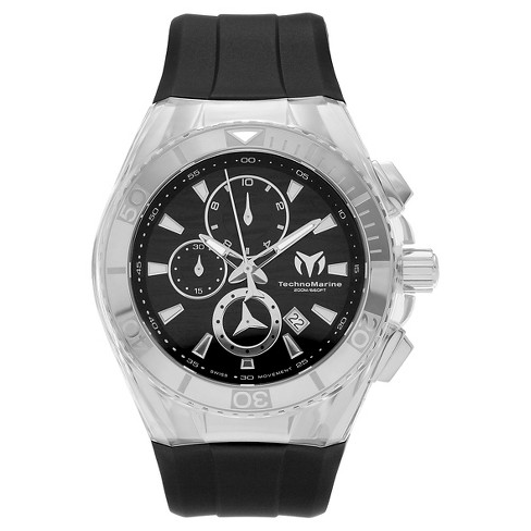 Men's Technomarine TM-115054 Cruise Original Quartz Chronograph Black and Silver Dial Strap Watch - Black - image 1 of 3