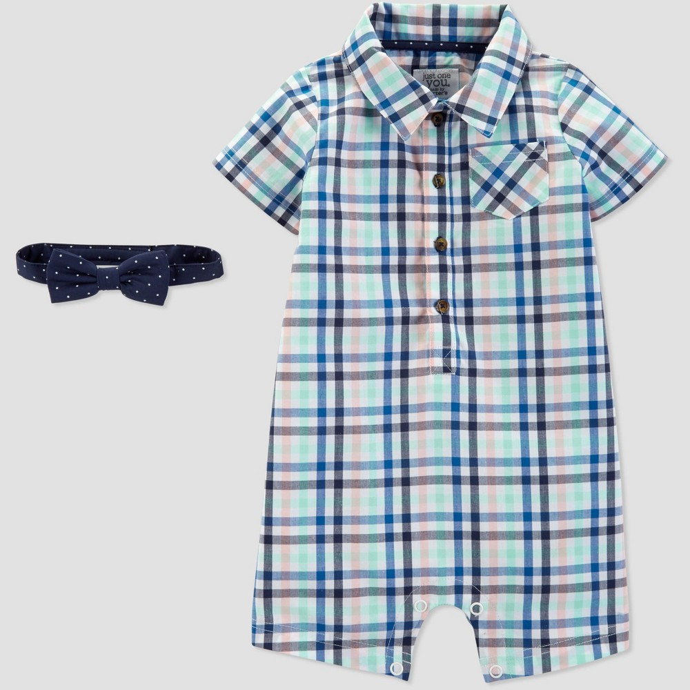 Baby Boys' Plaid Romper with Bowtie Set - Just One You made by carter's Blue 12M