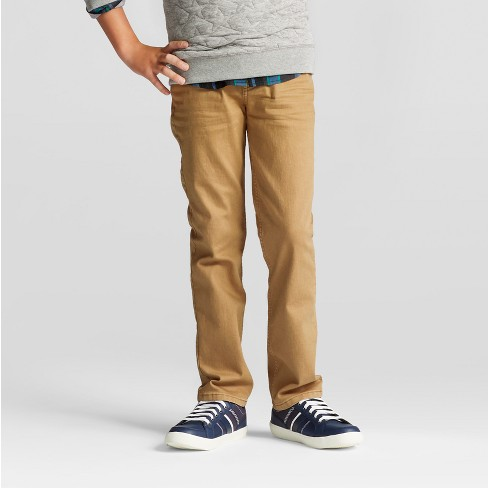 Boys' Stretch Straight Fit Jeans - Cat & Jack™ Khaki Wash - image 1 of 4