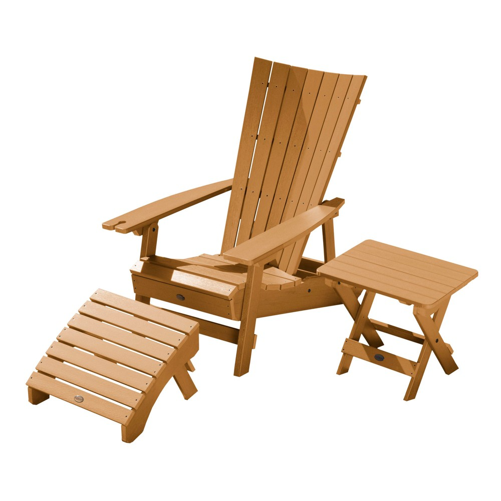 Manhattan Beach Adirondack Chair with Wine Glass Holder with Folding Adirondack Side Table & Ottoman Toffee - Highwood