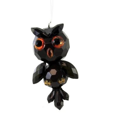 "Crystal Expressions 3.5"" Midnight Owl Halloween Bird Spooky  -  Tree Ornaments"