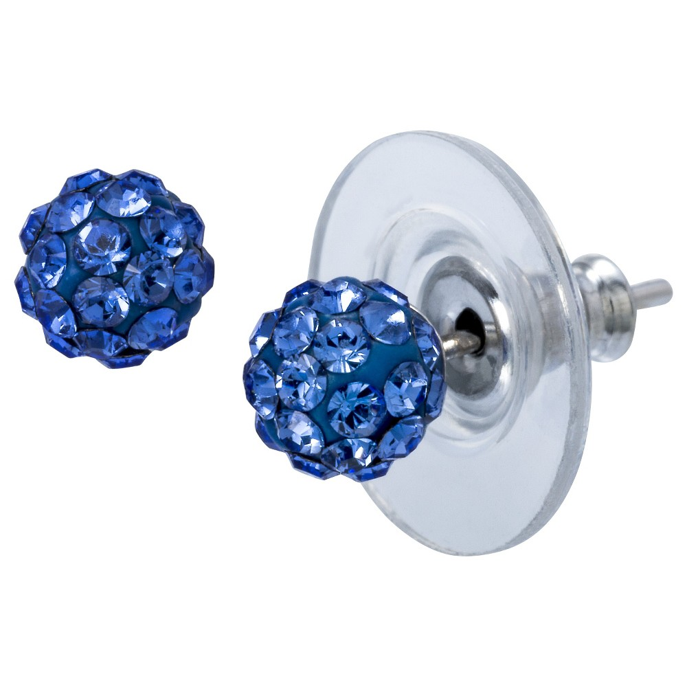 Sterling Silver Crystal Ball Stud Earring - Blue