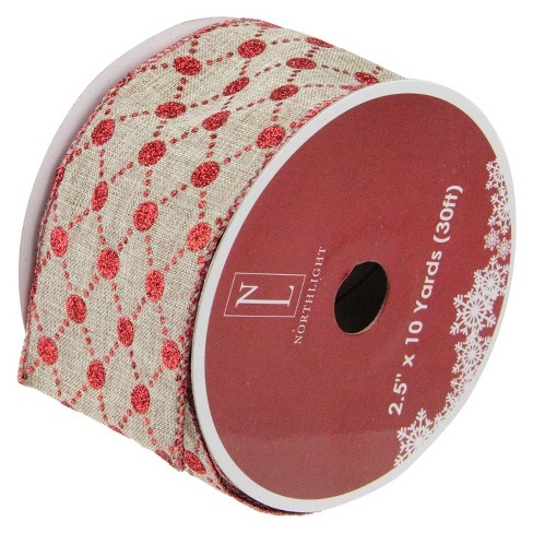 "Northlight Connecting The Dots Red and White Diamond Wired Christmas Craft Ribbon 2.5"" x 10 Yards - image 1 of 3"