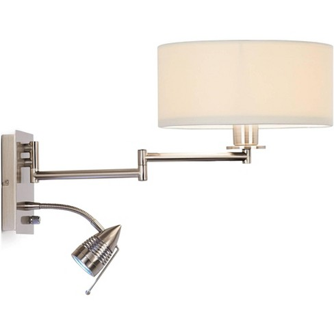 Possini Euro Design Modern Swing Arm Wall Lamp LED Brushed Nickel Plug-In Light Fixture Off White Drum Shade for Bedroom Reading - image 1 of 4