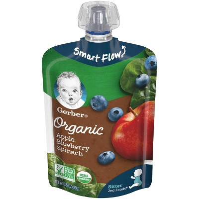 Gerber Organic 2nd Foods Apple Blueberry & Spinach Baby Food Pouch - 3.5oz