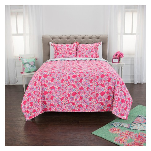 Pineapple/Flowers Quilt Set Pink - Simply Southern - image 1 of 4