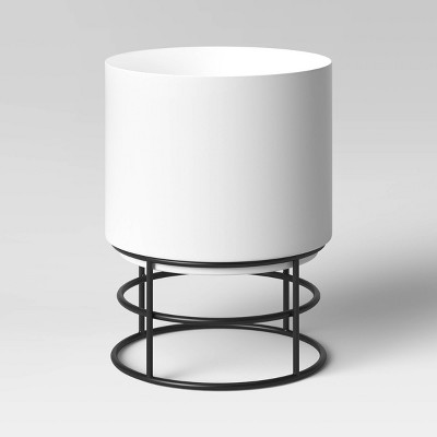 White Metal Planter with Black Stand - Project 62™