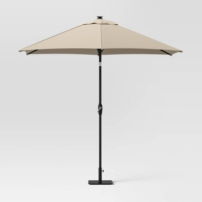 9' Round Solar Patio Umbrella DuraSeason Fabric™ - Black Pole - Threshold™