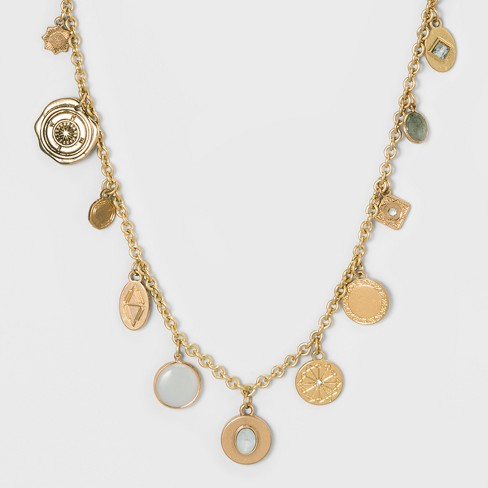 Geometric Textured Discs Frontal Necklace - Universal Thread™ - image 1 of 2
