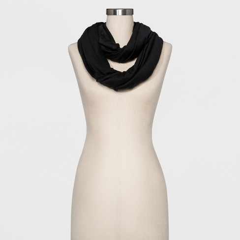 Women's Jersey Loop Scarf - A New Day™ Black - image 1 of 2