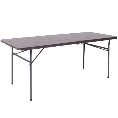 Flash Furniture 6-Foot Bi-Fold Plastic Banquet and Event Folding Table with Carrying Handle