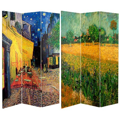 6' Tall Double Sided Works Of Van Gogh Canvas Room Divider Cafe Terrace/View Of Arles - Oriental Furniture