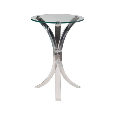 Coaster Home Furnishings Contemporary Round Clear Glass Top and Acrylic Curved Base Accent End Table for Home Living Rooms or Bedrooms