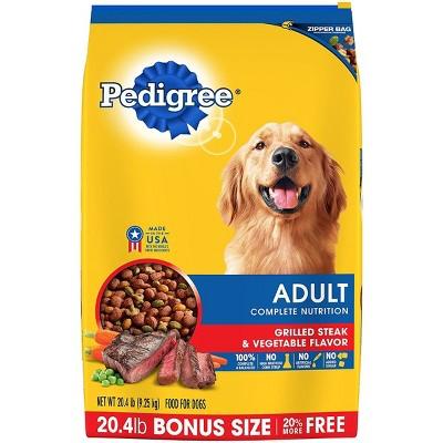 Pedigree Adult Complete Nutrition Grilled Steak & Vegetable Flavor Dry Dog Food - 20.4lbs