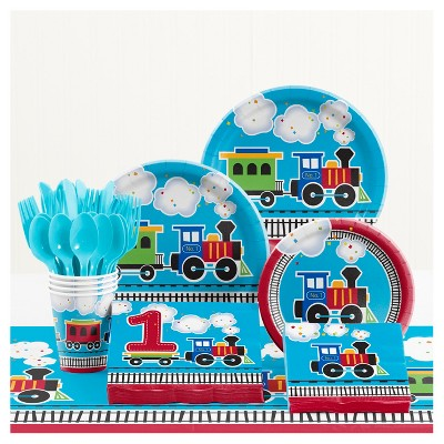 All Aboard Train 1st Birthday Party Supplies Kit