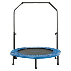 Upper Bounce 40 Inch Mini Foldable Rebounder Fitness Trampoline with Adjustable Handrail