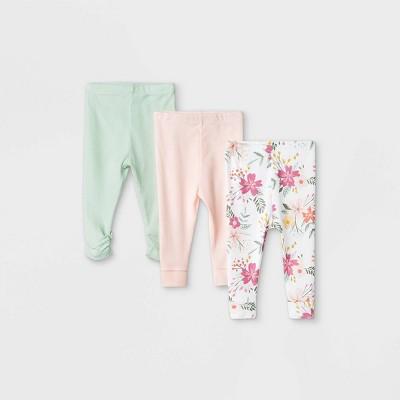 Baby Girls' 3pk Meadow Pull-On Pants - Cloud Island™ White Newborn