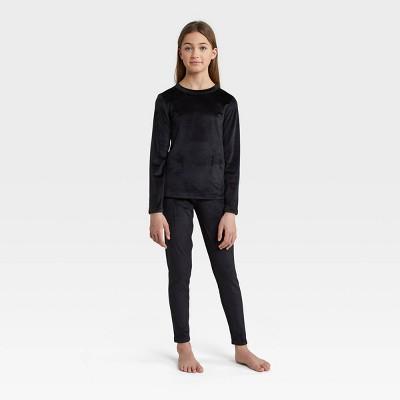 Wander by Hottotties Girls' 2pc Velour Thermal Underwear Set - Black