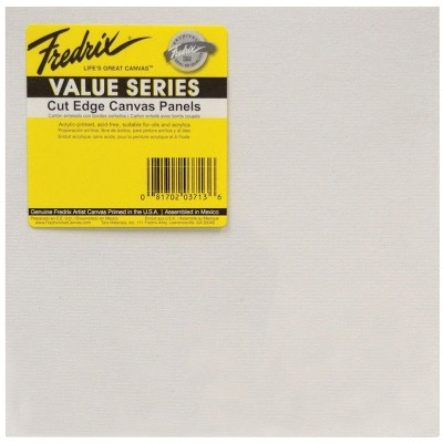 Fredrix Value Series Cut Edge Canvas Panel, 8 Inches Square, White, pk of 25