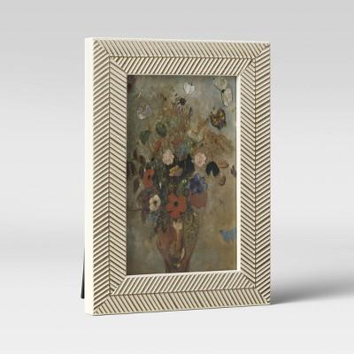 """4"""" x 6"""" Organic Herringbone Tabletop Frame Gold/White - Opalhouse™"""