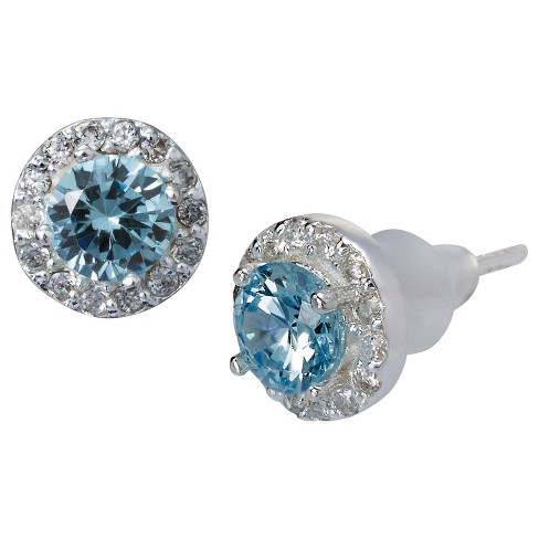 Stud Earrings Cubic Zirconia with Crystals - Blue - image 1 of 1