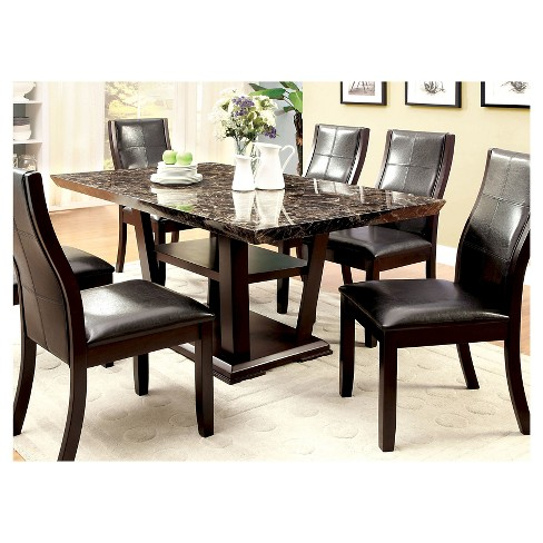 IoHomes Faux Marble Table Top With Open Bottom Shelf Dining Table - Used marble dining table