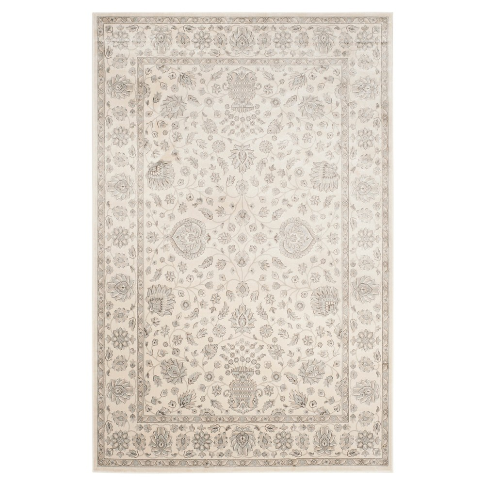Silver/Cream (Silver/Ivory) Botanical Loomed Area Rug - (6'7