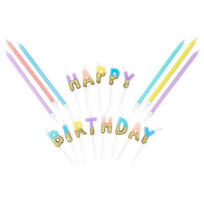 Blue Panda 37-Piece Gold Glitter Happy Birthday Dipped Birthday Cake Candles Party Decorations, 5 Colors