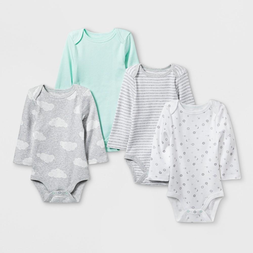 Baby Boys' In the Clouds 4pk Long sleeve Bodysuit - Cloud Island Mint Newborn, Green