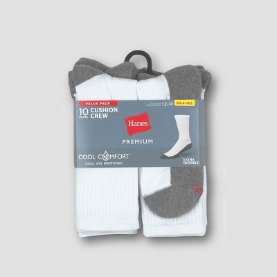Men's Hanes Premium 10Pk Extended Size White Crew Socks, Size: 12-14
