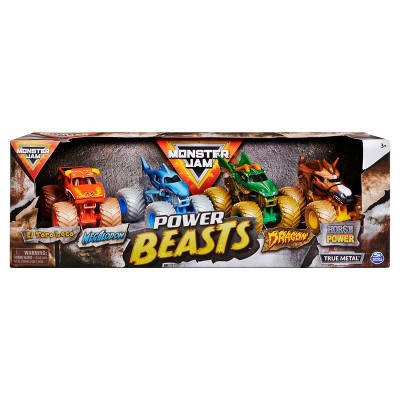 Monster Jam Power Beasts  1:64 Scale 4-Pack (El Toro Loco, Megalodon, Dragon and Horse Power)