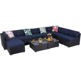 10pc Outdoor Rattan Wicker Sectional Sofa Set - Captiva Designs